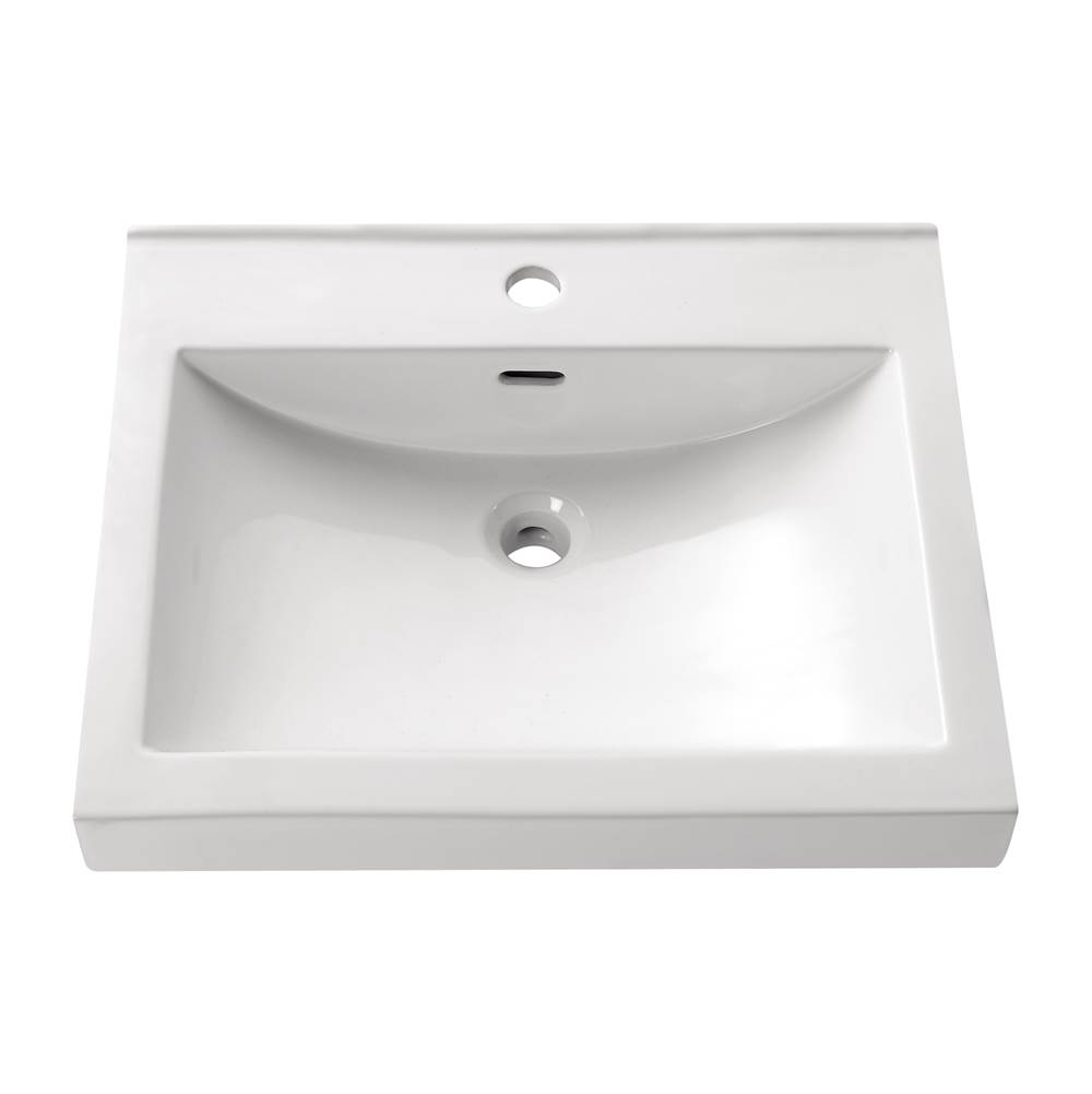 Avanity Semi Recessed 21.7 in. Rectangular Vitreous China Sink in White