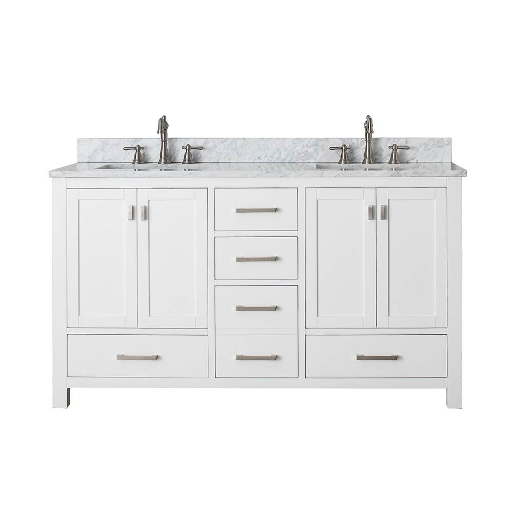 Avanity Avanity Modero 61 in. Double Vanity in White finish with Carrara White Marble Top