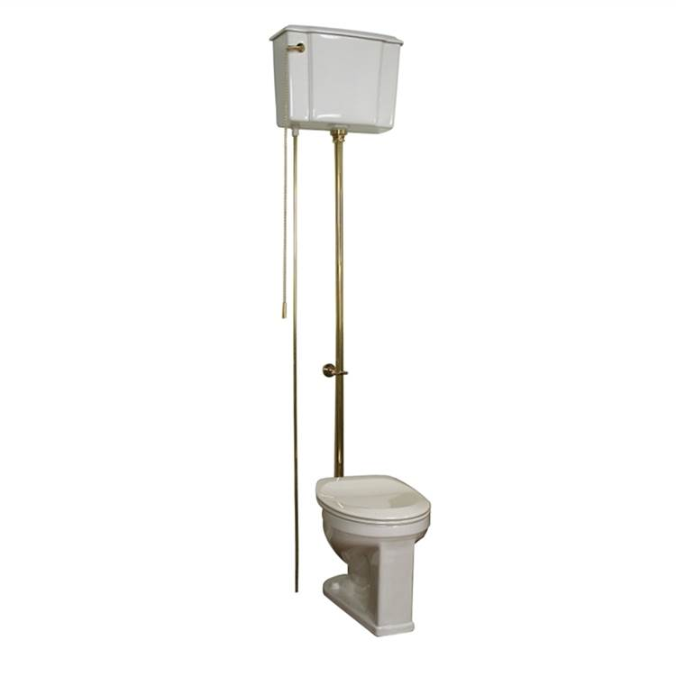 Barclay Victoria High Tank Toilet 1.6 gpf, White/Brass Trim
