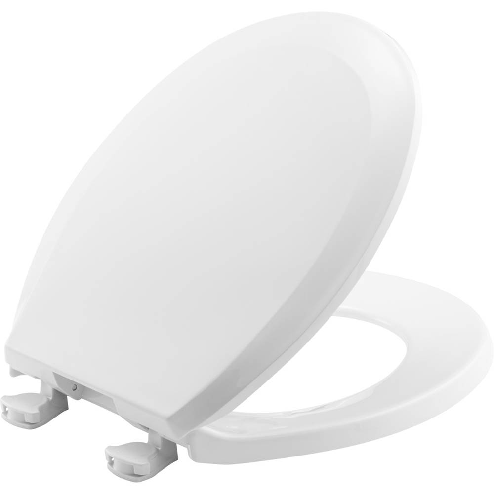 Bemis Round Plastic Toilet Seat in White with Easy-Clean & Change Hinge