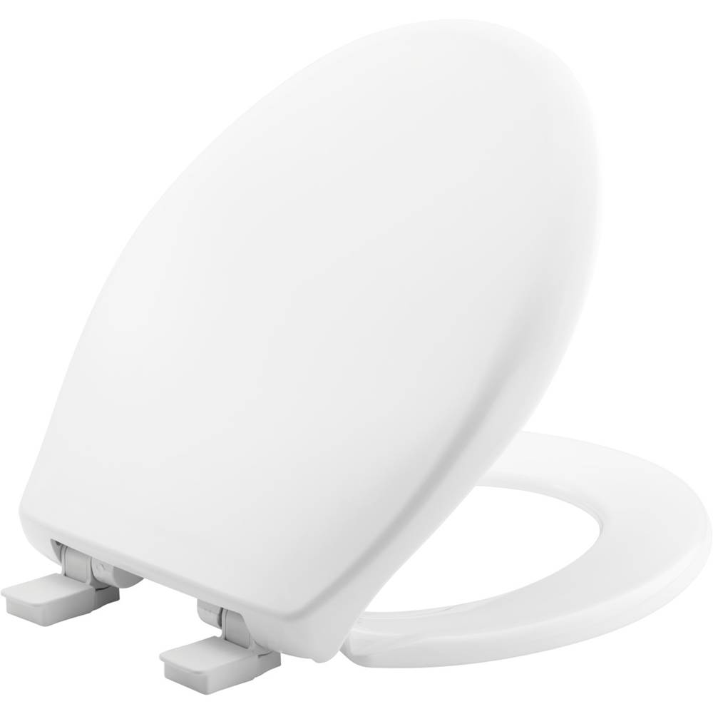 Bemis Affinity Round Plastic Toilet Seat in Cotton White with STA-TITE Seat Fastening System, Easy-Clean and Whisper-Close
