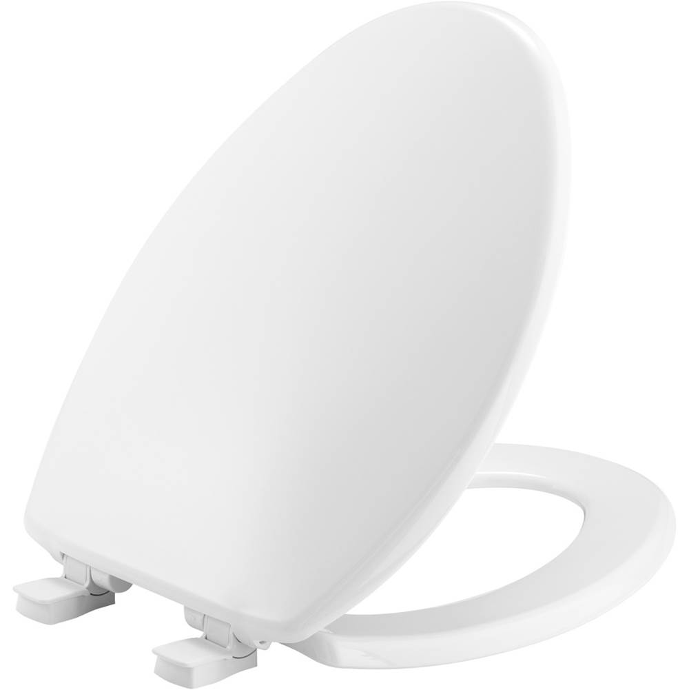Bemis Elongated Plastic Toilet Seat in White with Easy-Clean & Change and Whisper-Close Hinge