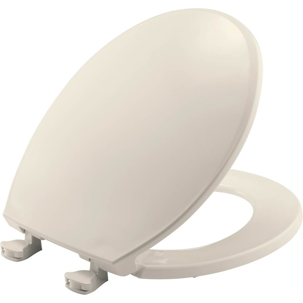 Bemis Round Plastic Toilet Seat in Biscuit with Easy-Clean & Change Hinge