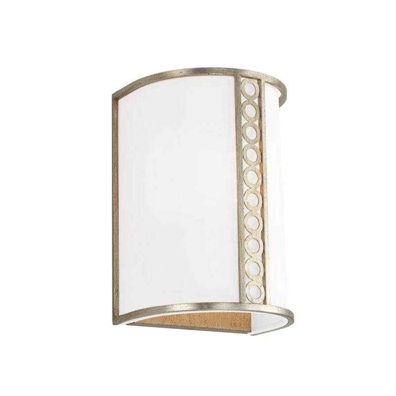 Capital Lighting Isabella 1-Light Sconce in Winter Gold with White Fabric Shade