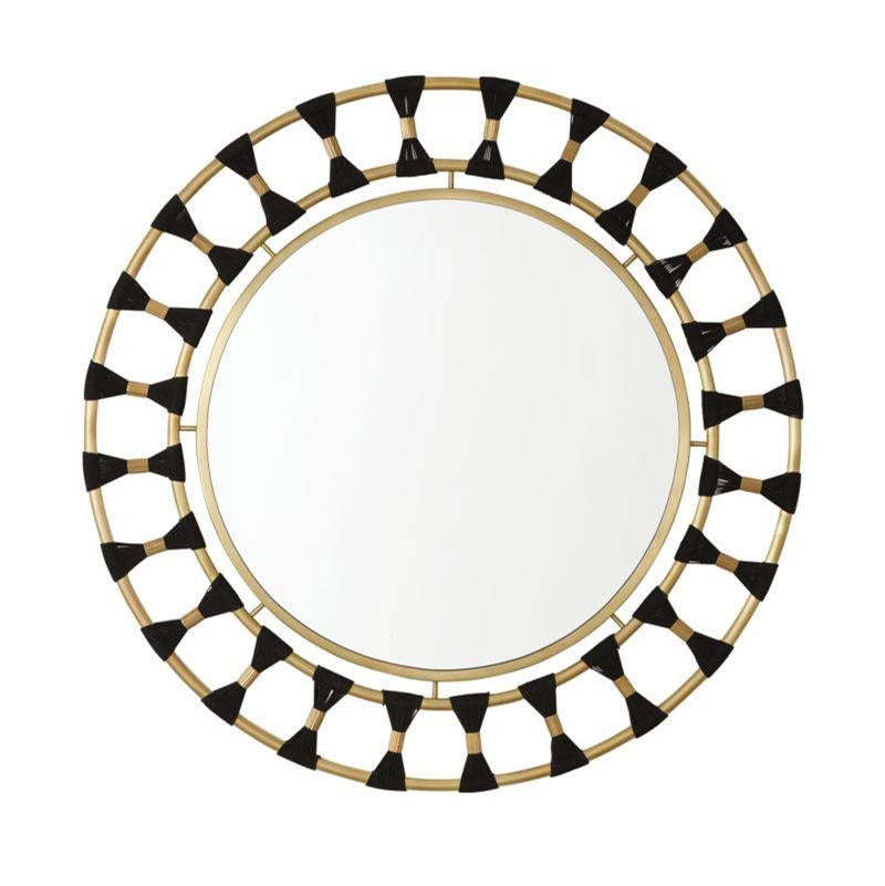 Capital Lighting Decorative Mirror in Black Rope and Patinaed Brass