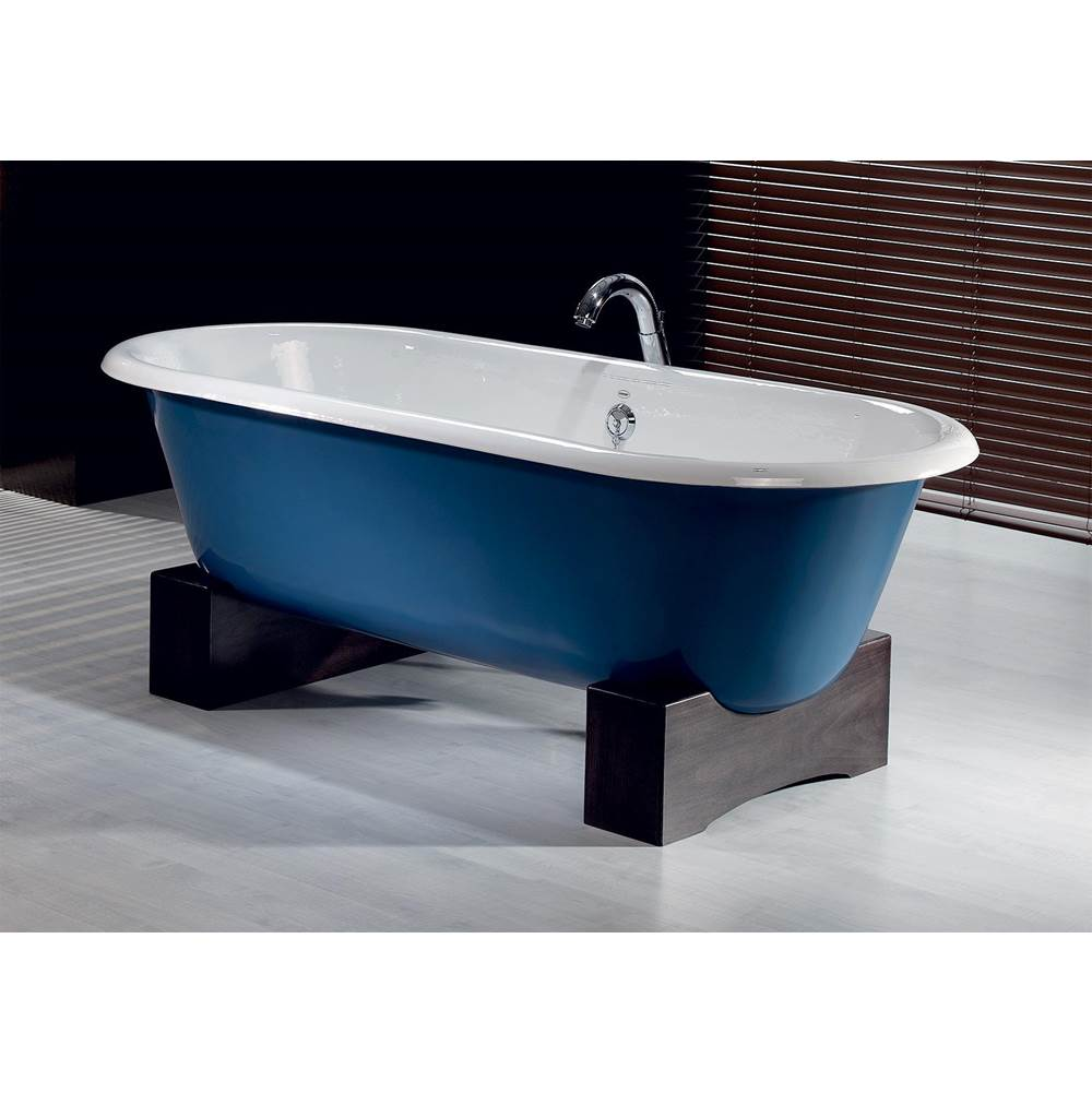 Cheviot Products REGAL Cast Iron Bathtub with Wooden Base and Faucet Holes
