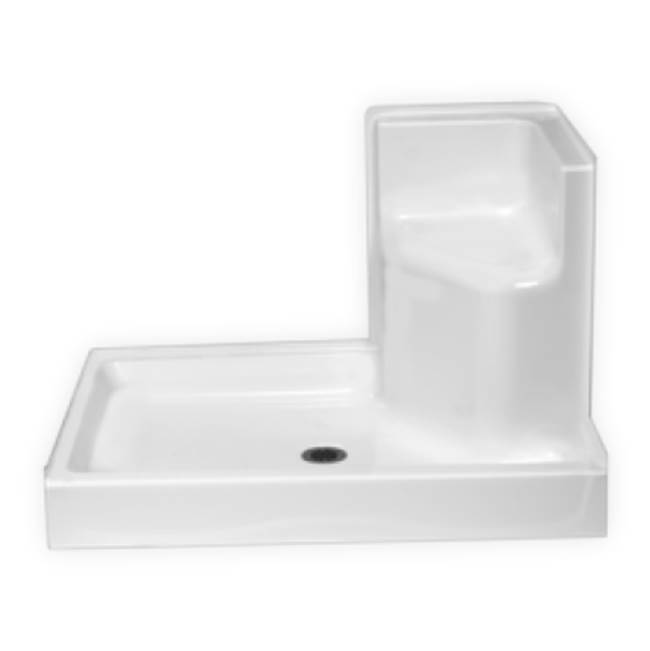Clarion Bathware 48'' X 35'' Shower Base W/ 6'' Threshold And Molded Seat - Center Drain