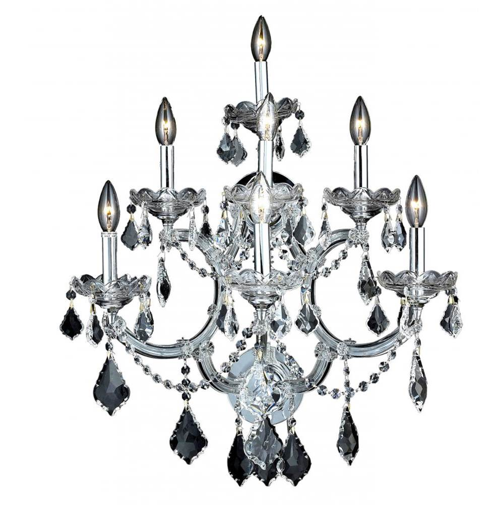 Elegant Lighting Maria Theresa 7 Light Chrome Wall Sconce Clear Elegant Cut Crystal