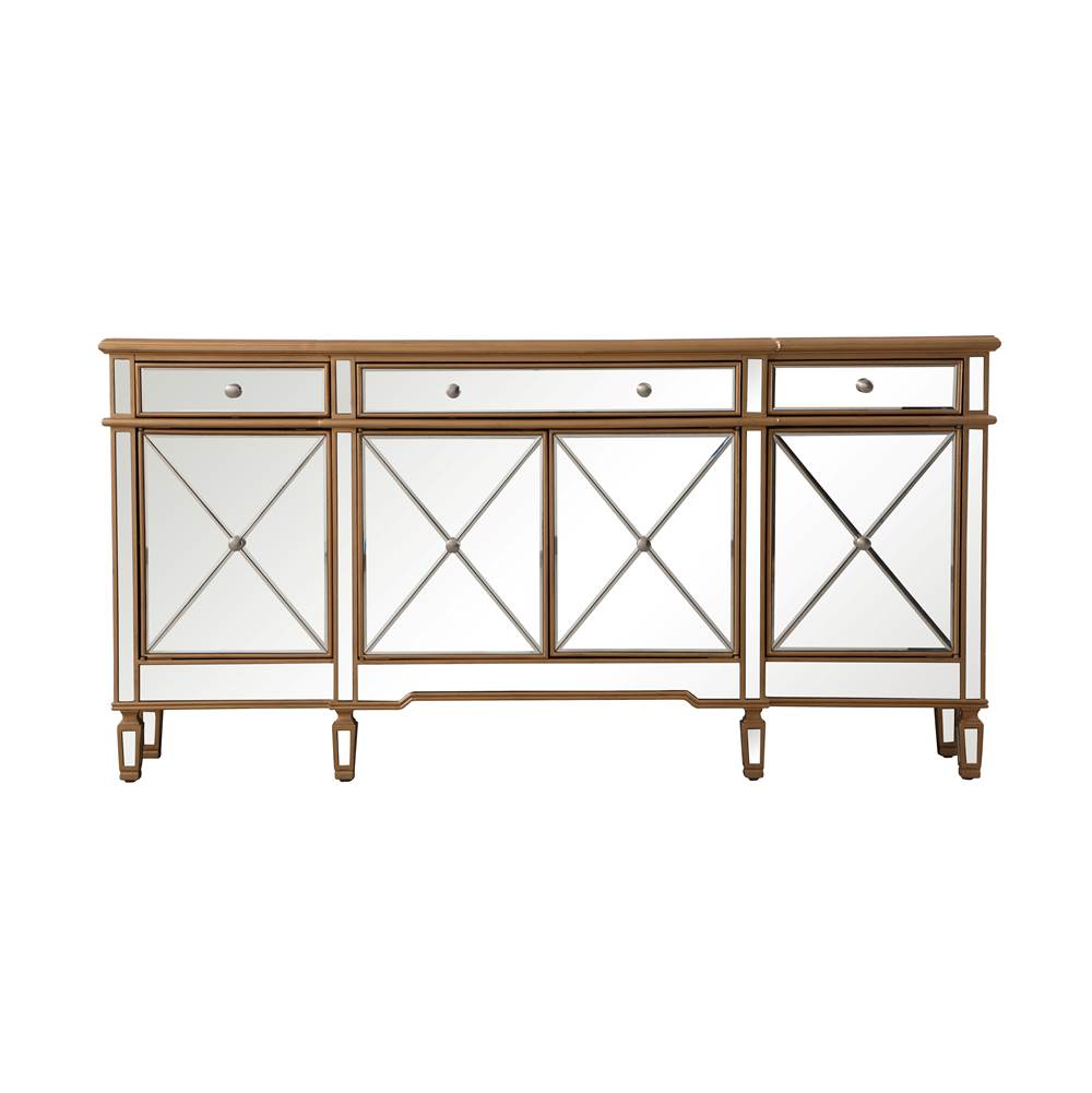 Elegant Lighting 72 inch mirrored credenza in gold