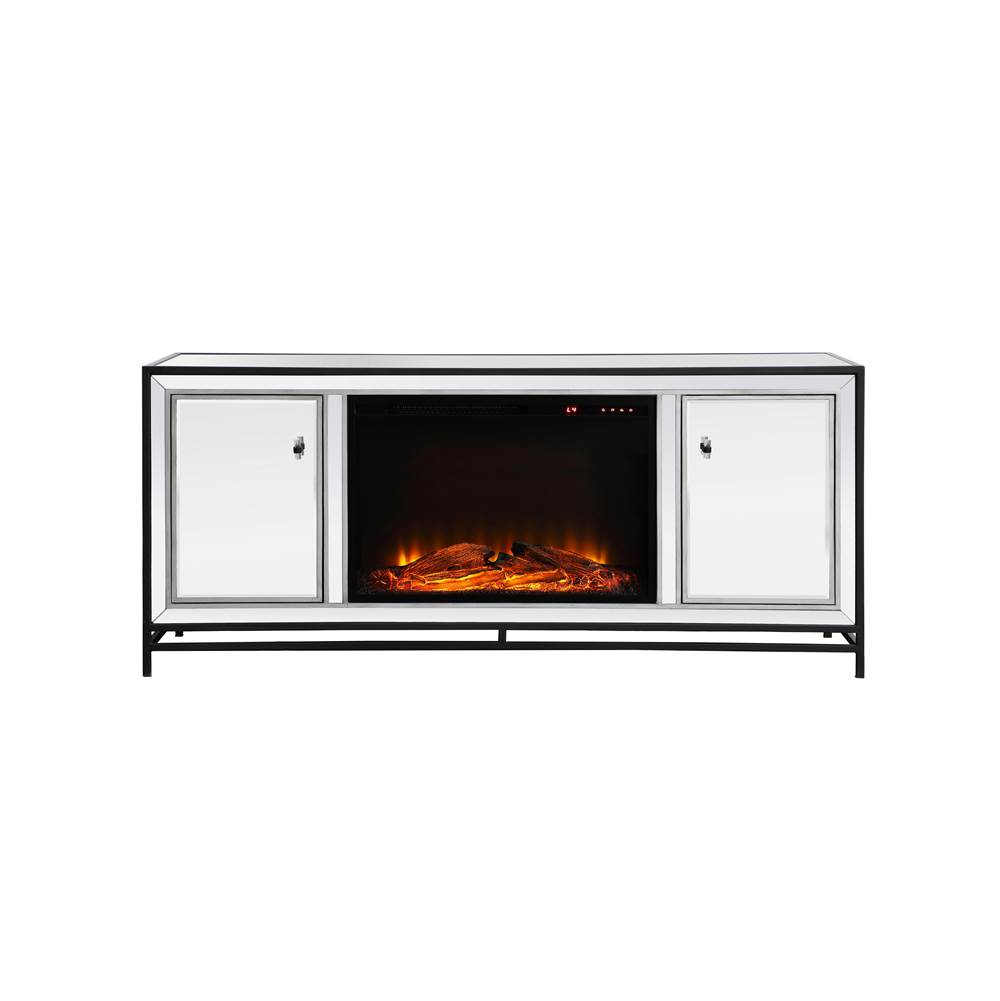 Elegant Lighting James James 60 In. Mirrored Tv Stand With Wood Fireplace In Black