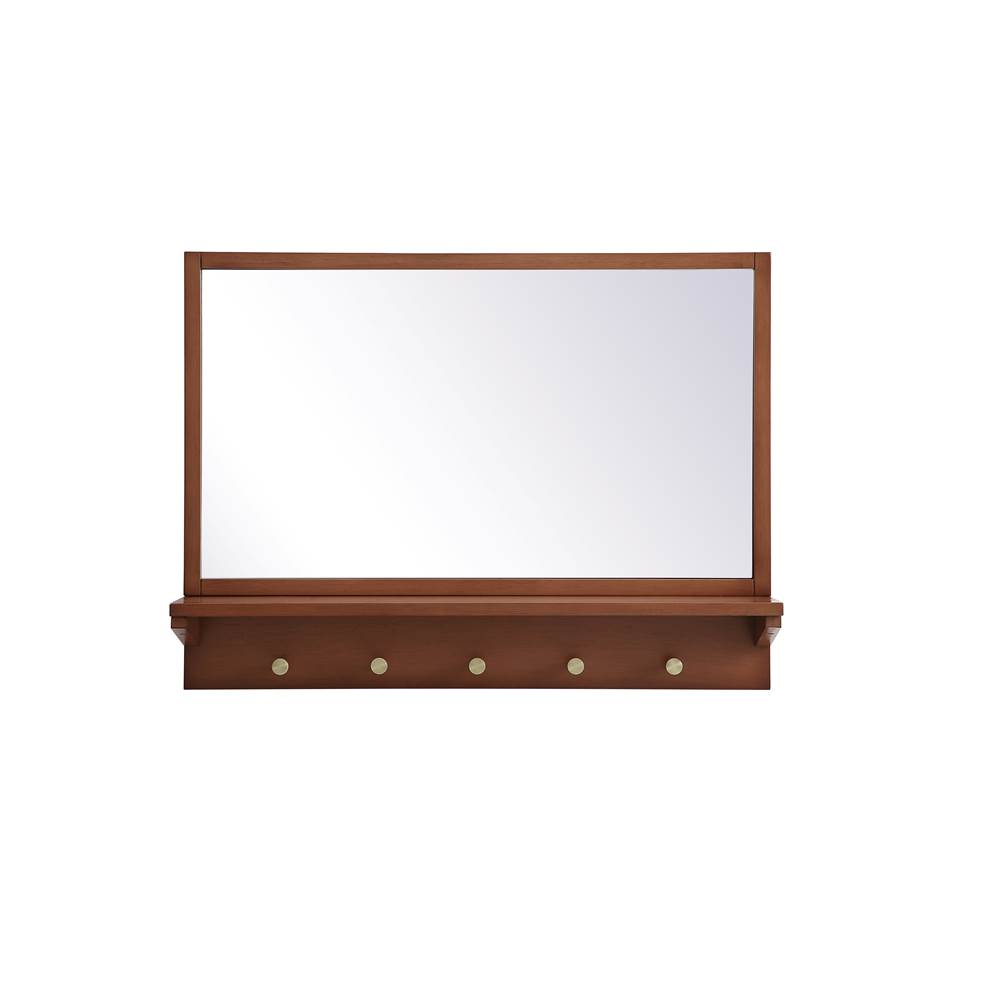 Elegant Lighting Elle Entryway Mirror With Shelf 28 Inch X 21 Inch In Pecan