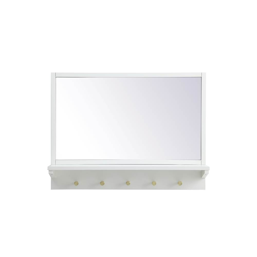 Elegant Lighting Elle Entryway Mirror With Shelf 28 Inch X 21 Inch In White