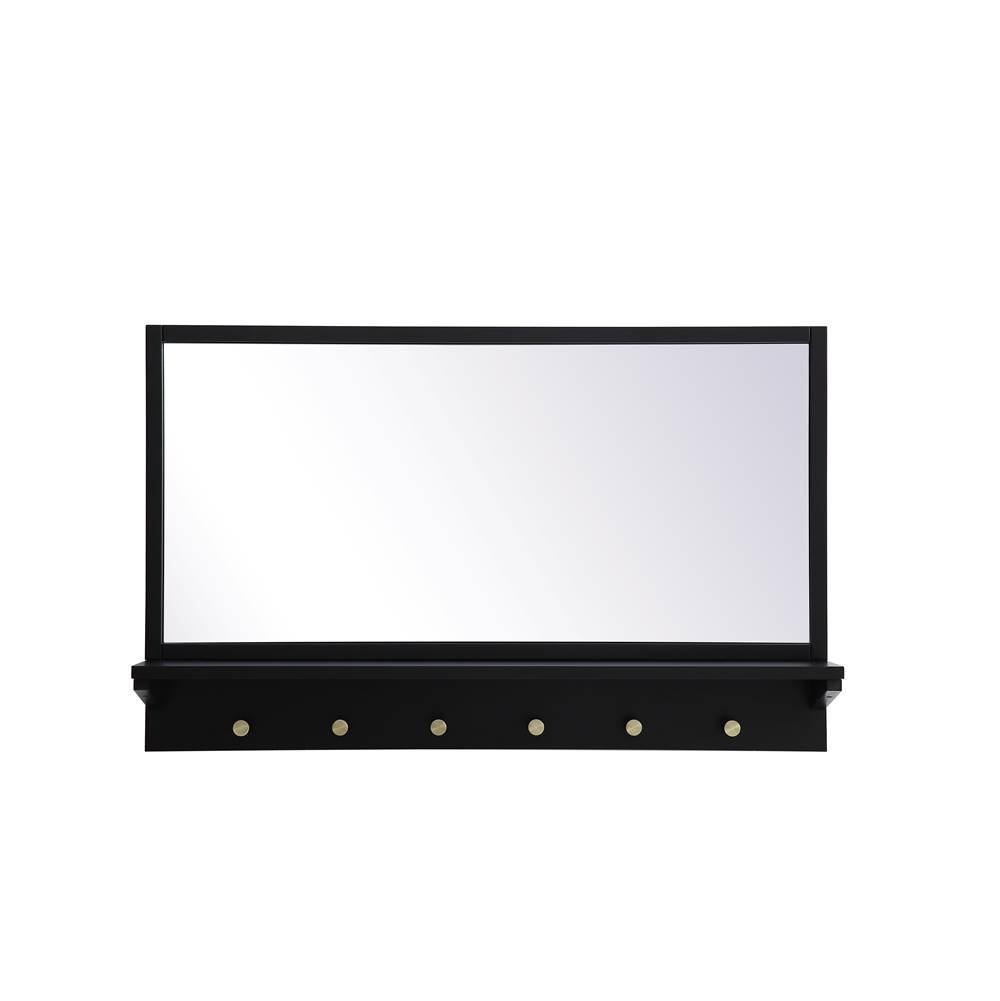Elegant Lighting Elle Entryway Mirror With Shelf 34 Inch X 21 Inch In Black