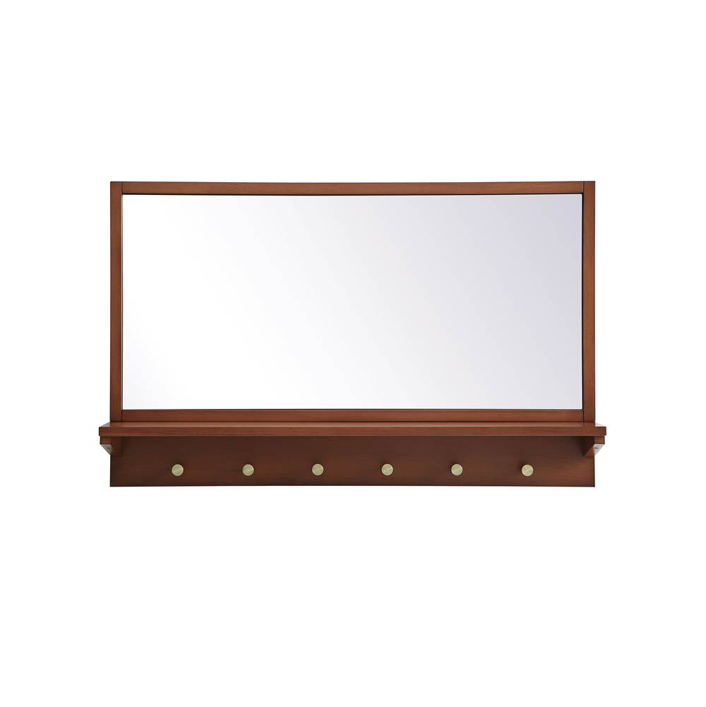 Elegant Lighting Elle Entryway Mirror With Shelf 34 Inch X 21 Inch In Pecan