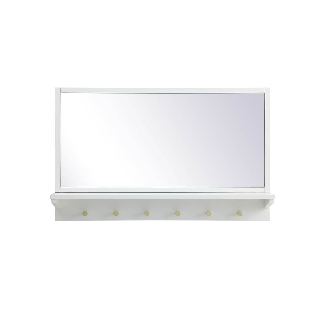 Elegant Lighting Elle Entryway Mirror With Shelf 34 Inch X 21 Inch In White
