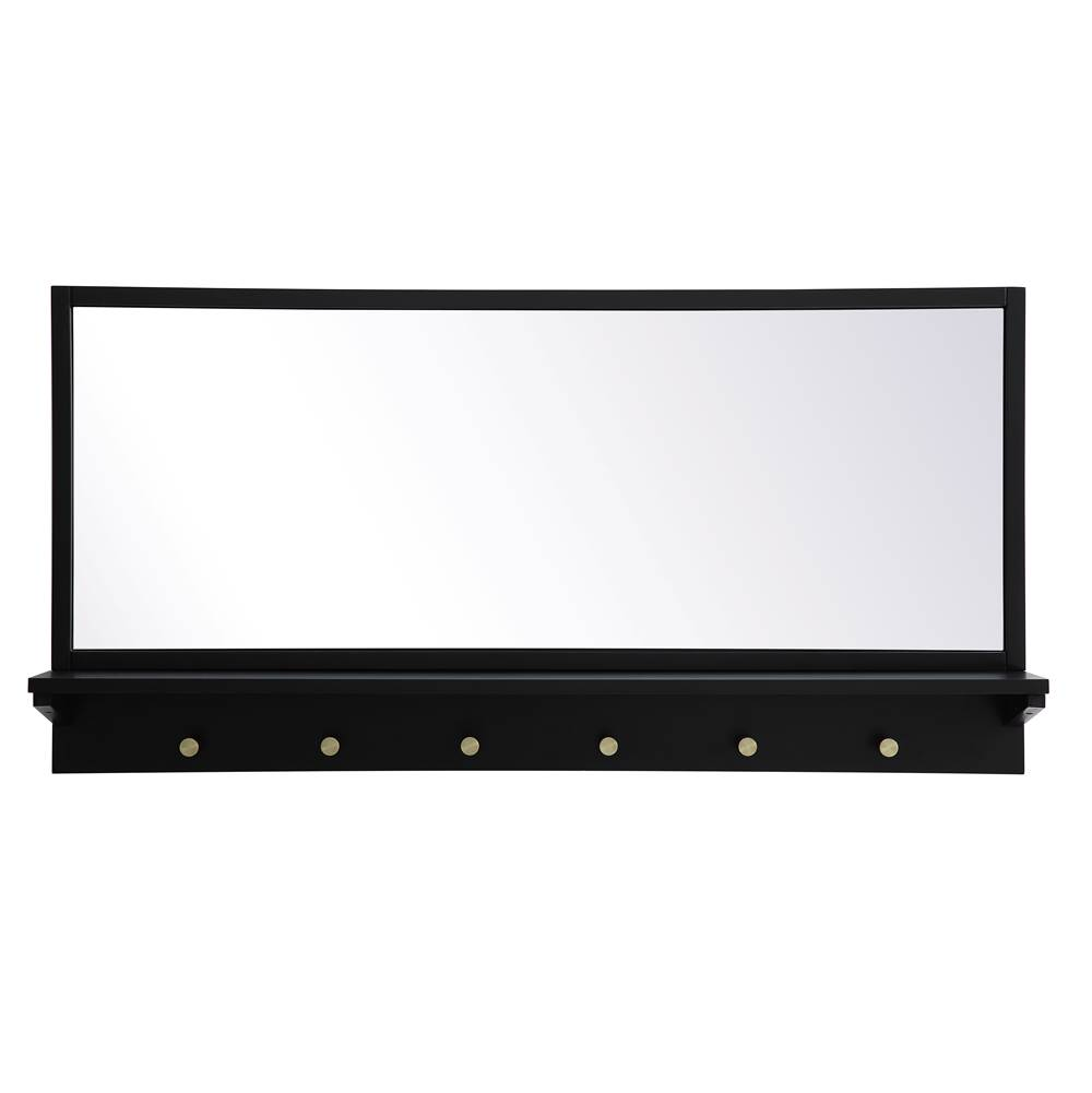 Elegant Lighting Elle Entryway Mirror With Shelf 42 Inch X 21 Inch In Black