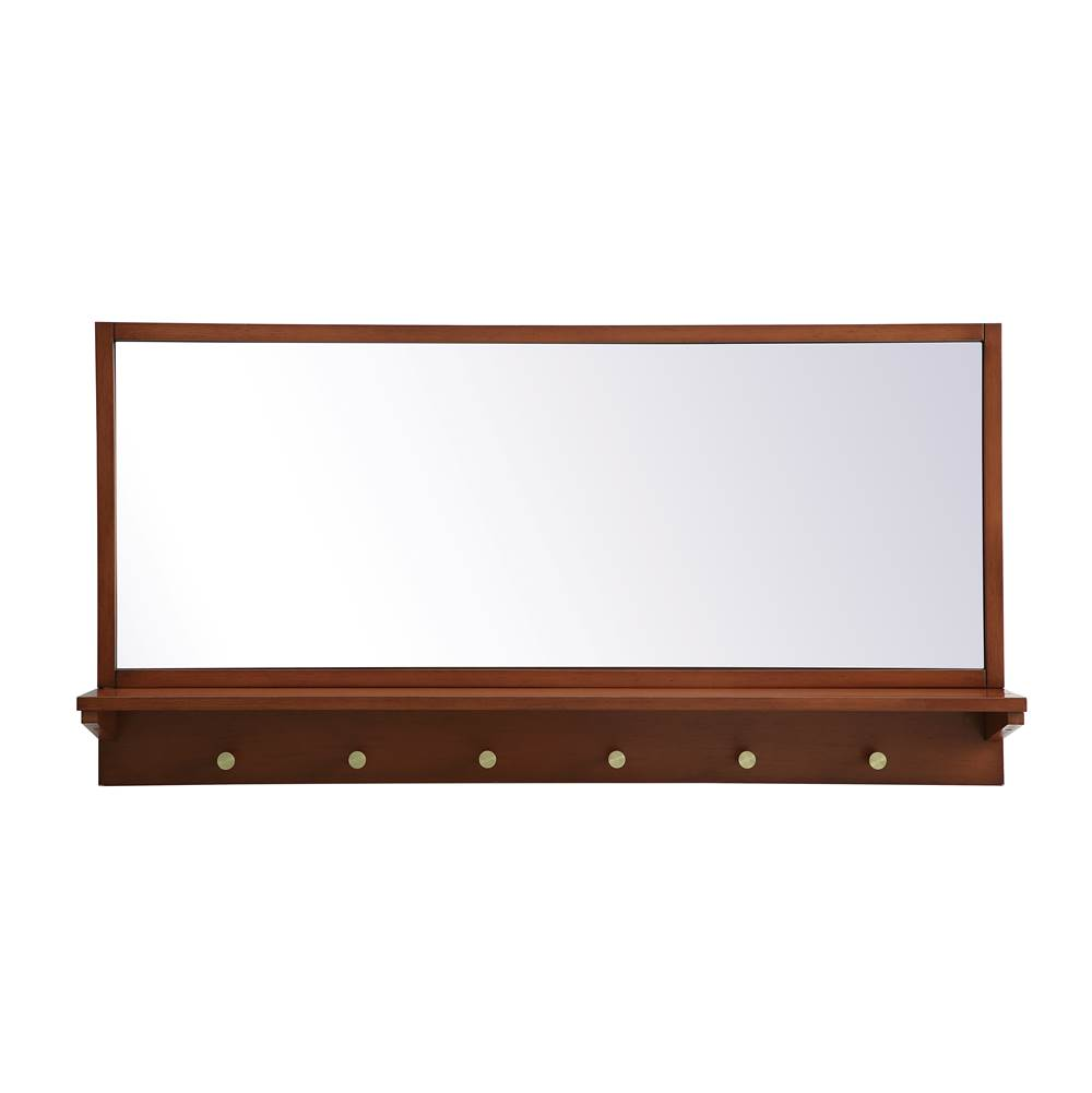 Elegant Lighting Elle Entryway Mirror With Shelf 42 Inch X 21 Inch In Pecan