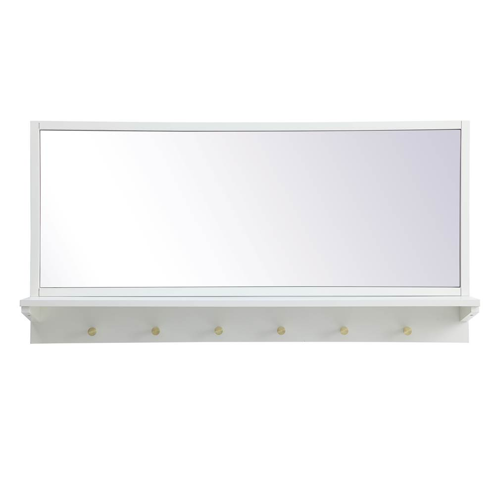 Elegant Lighting Elle Entryway Mirror With Shelf 42 Inch X 21 Inch In White