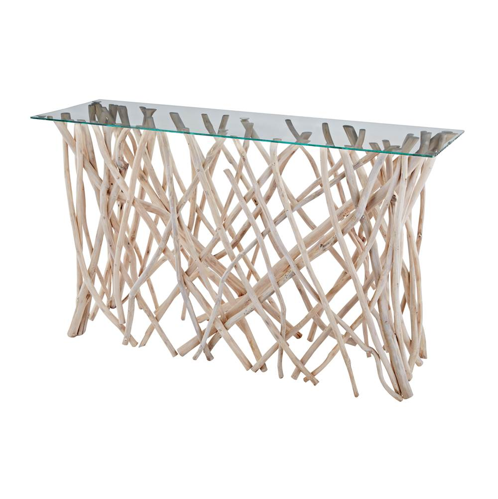 Elk Home Teak Root Console With Glass Top - Natural