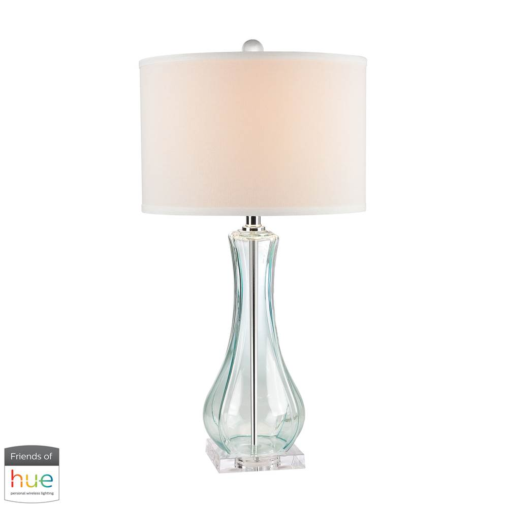 Elk Home Flaired Glass Table Lamp In Translucent Light Green - With Philips Hue Led Bulb/Dimmer