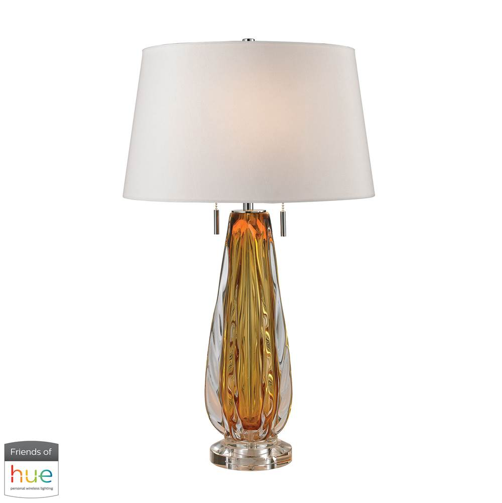 Elk Home Modena Free Blown Glass Table Lamp In Amber - With Philips Hue Led Bulb/Dimmer