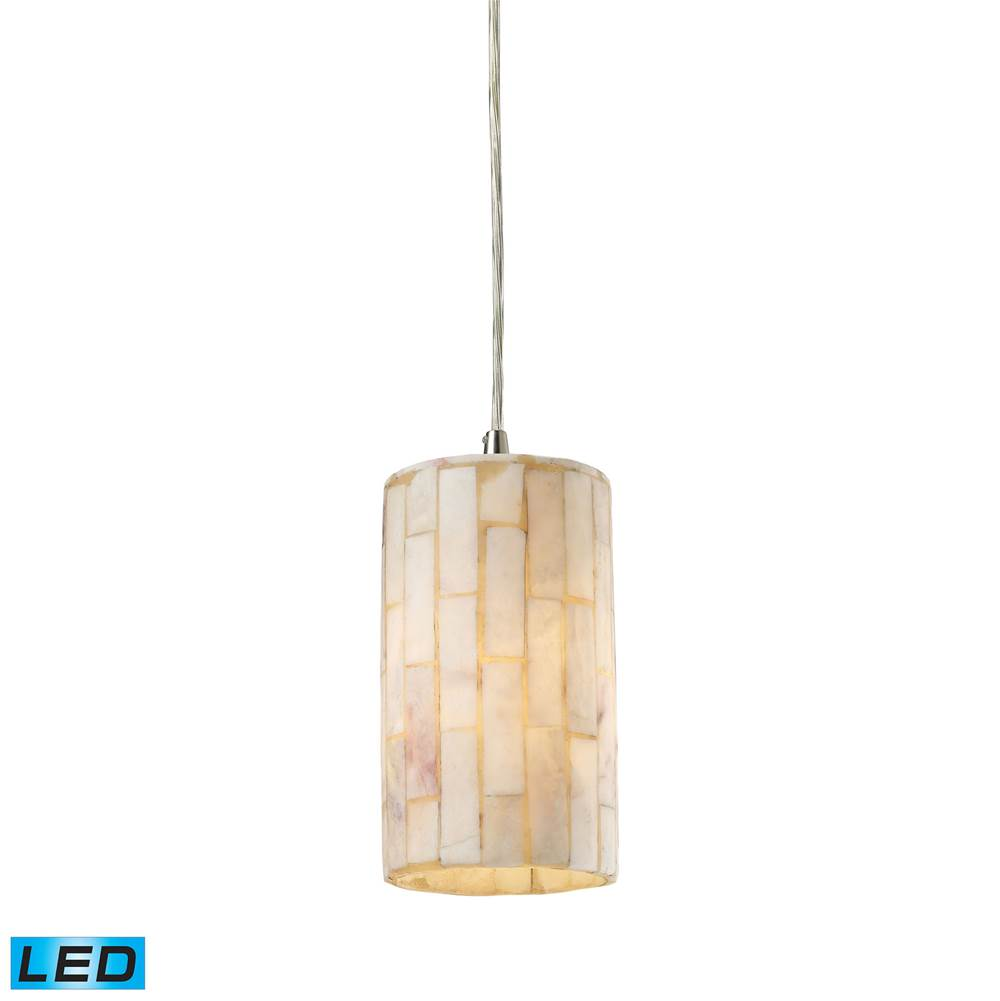Elk Lighting Coletta 1-Light Mini Pendant in Satin Nickel with Genuine Stone Shade - Includes LED Bulb