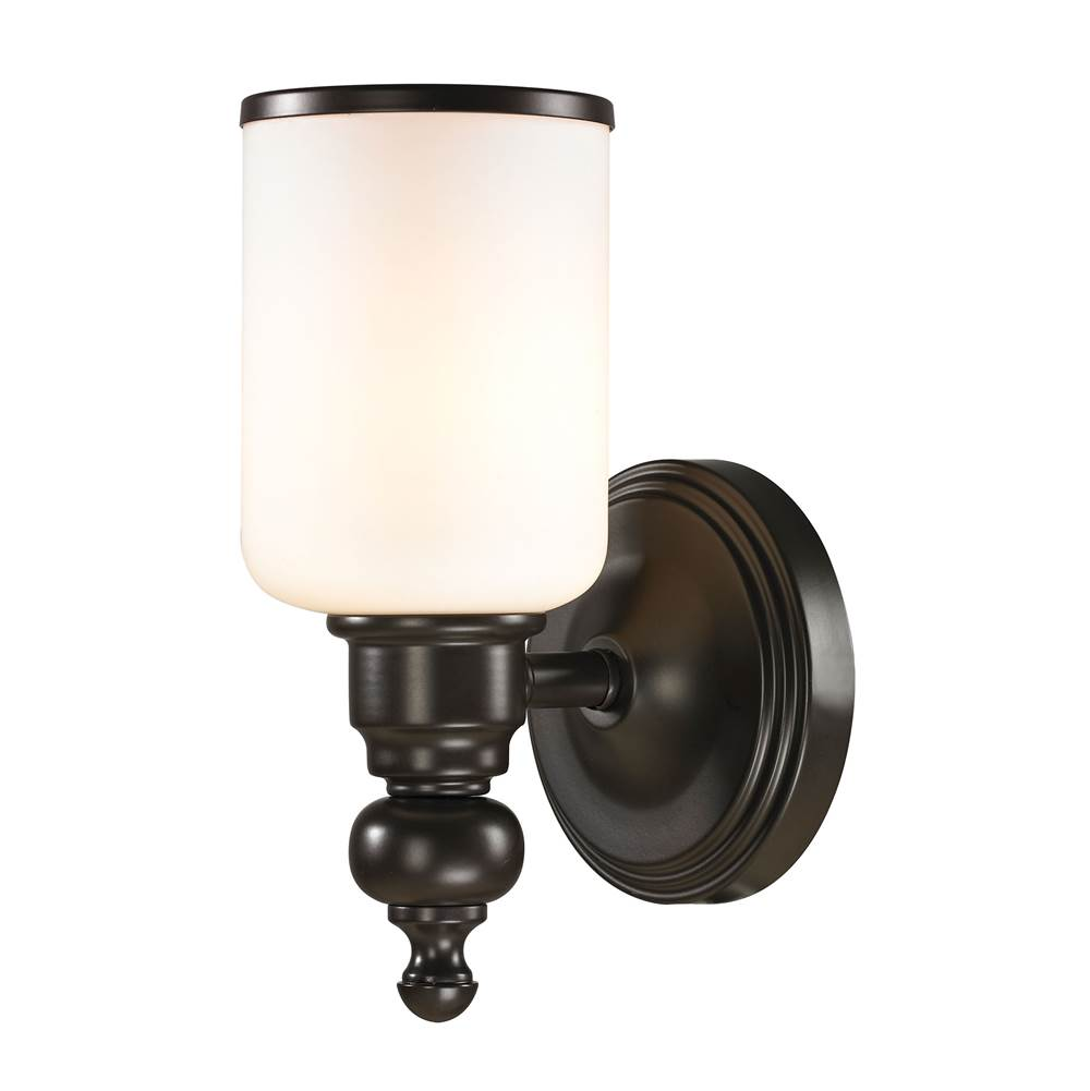 Elk Lighting Bristol Way 1-Light Vanity Lamp in Oil Rubbed Bronze with Opal White Blown Glass