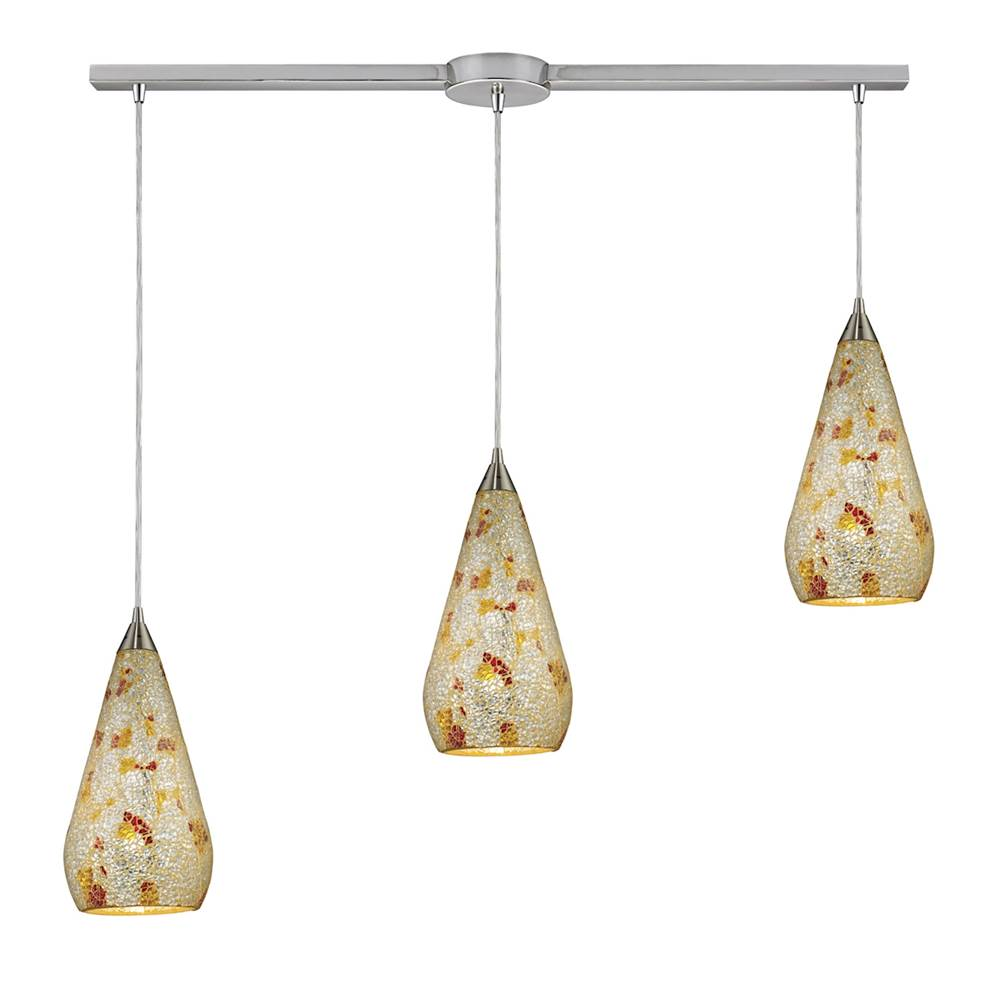 Elk Lighting Curvalo 3-Light Linear Pendant Fixture in Satin Nickel with Silver Multi Crackle Glass