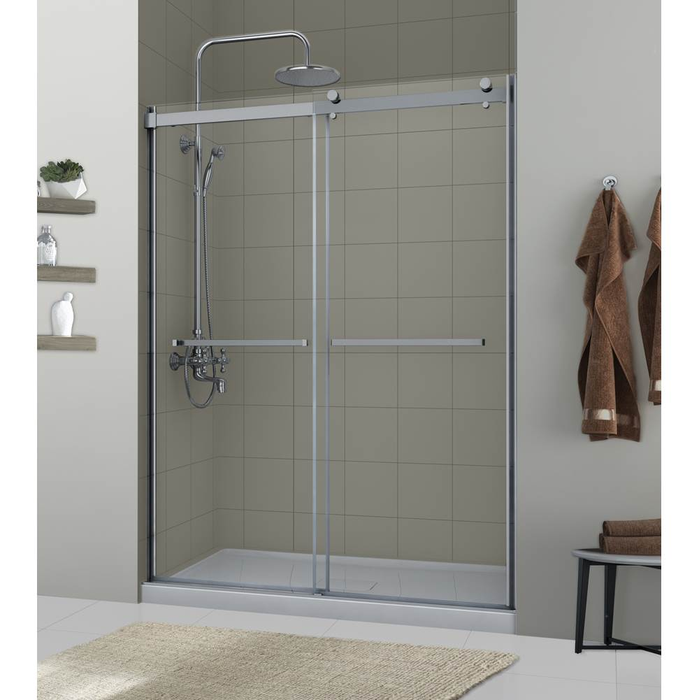 Foremost Lagoon Double Roller Door 5/16'' Clear Glass Brushed Nickel Frame Fits 55''-59'' Ht 76''