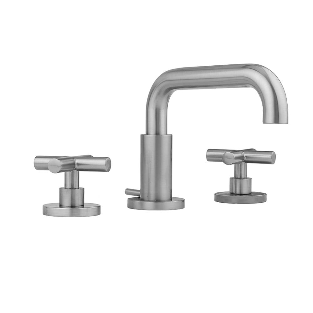 Jaclo Downtown Contempo Faucet with Round Escutcheons and Contempo Slim Cross Handles- 0.5 GPM