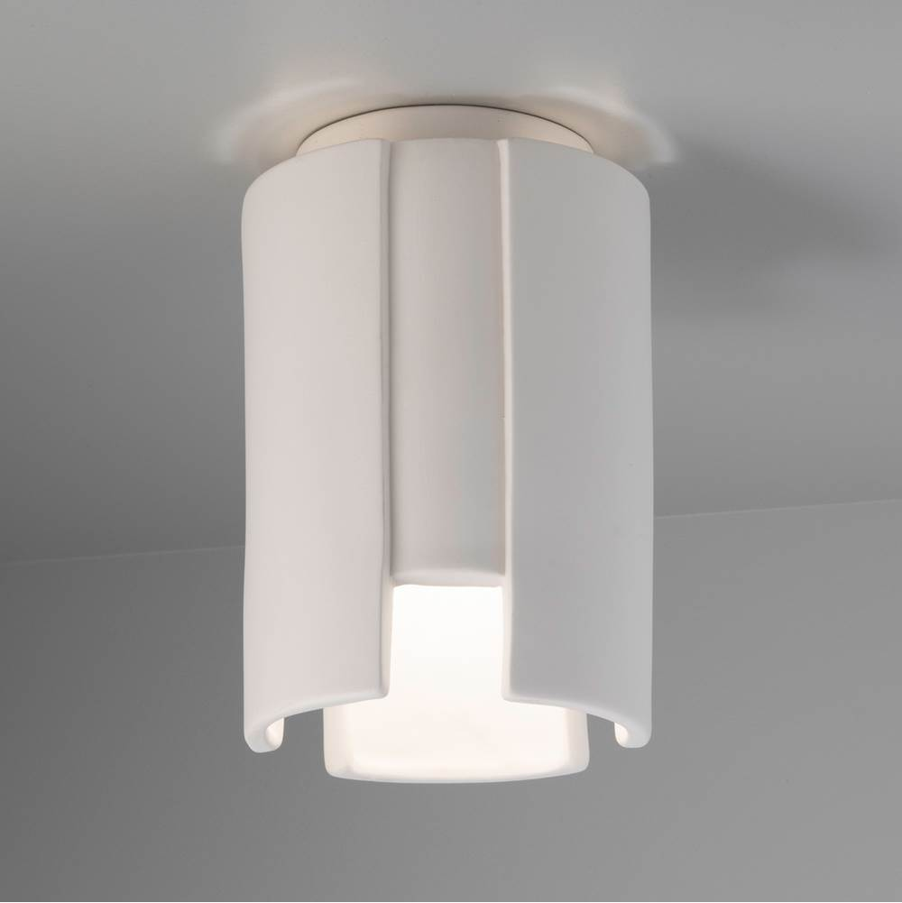 Justice Design Stagger Outdoor Flush-Mount in Matte White