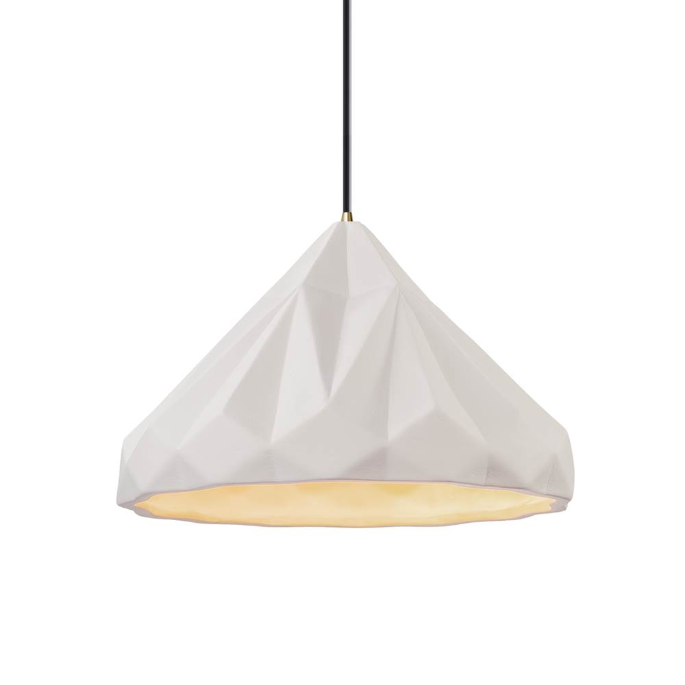 Justice Design Geometric 1-Light Pendant in Gloss Grey