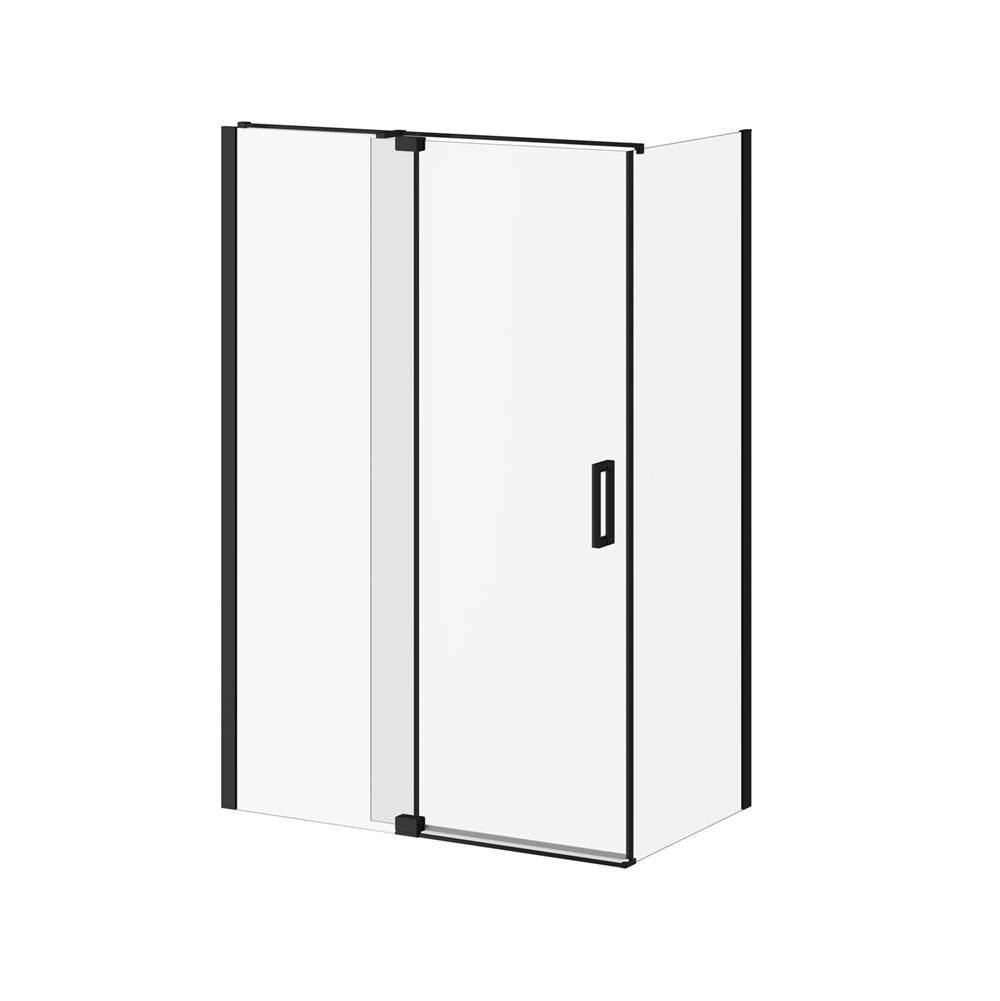 Kalia DISTINK™ (Box 1 of 2) 54''x77'' 2-Panel Pivot Shower Door for Corner Inst. (Reversible) Matte Black Clear Duraclean Glass