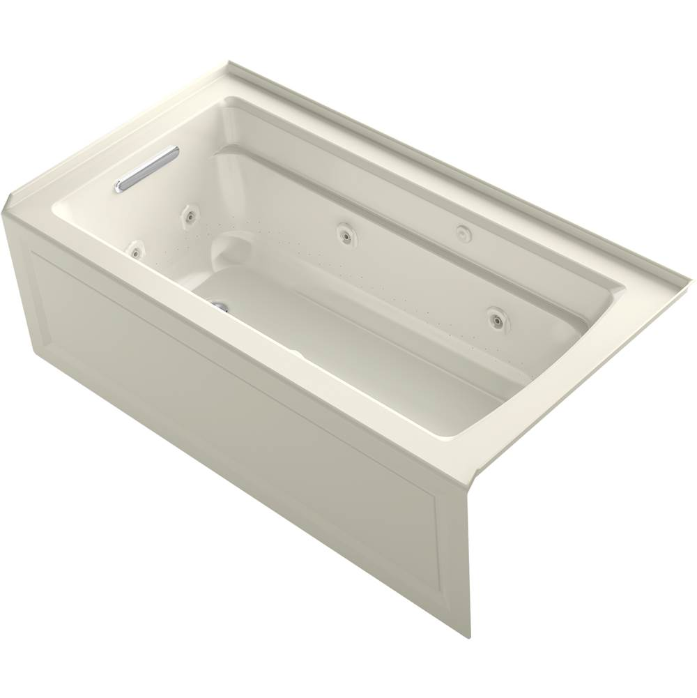Kohler Archer® 60'' x 32'' integral apron Heated BubbleMassage™ air bath and whirlpool with left-hand drain