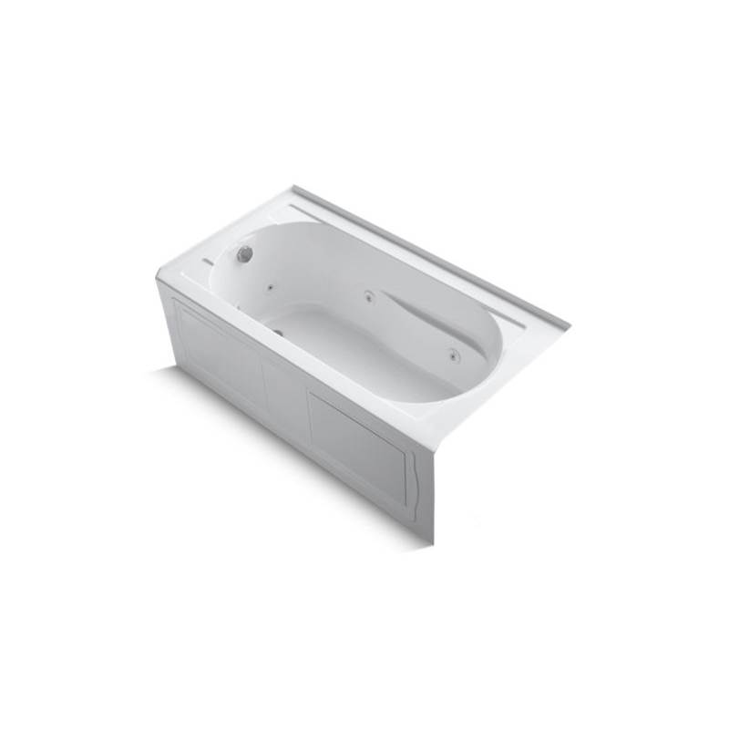 Kohler Devonshire® 60'' x 32'' alcove whirlpool bath with integral apron, integral flange, left-hand drain, and Bask® heated surface
