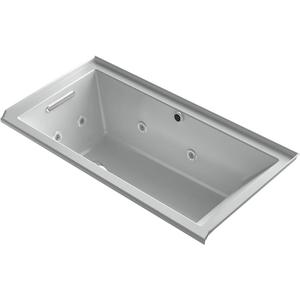 Kohler Underscore® Rectangle 60'' x 30'' Heated BubbleMassage™ air bath with whirlpool, alcove, left drain
