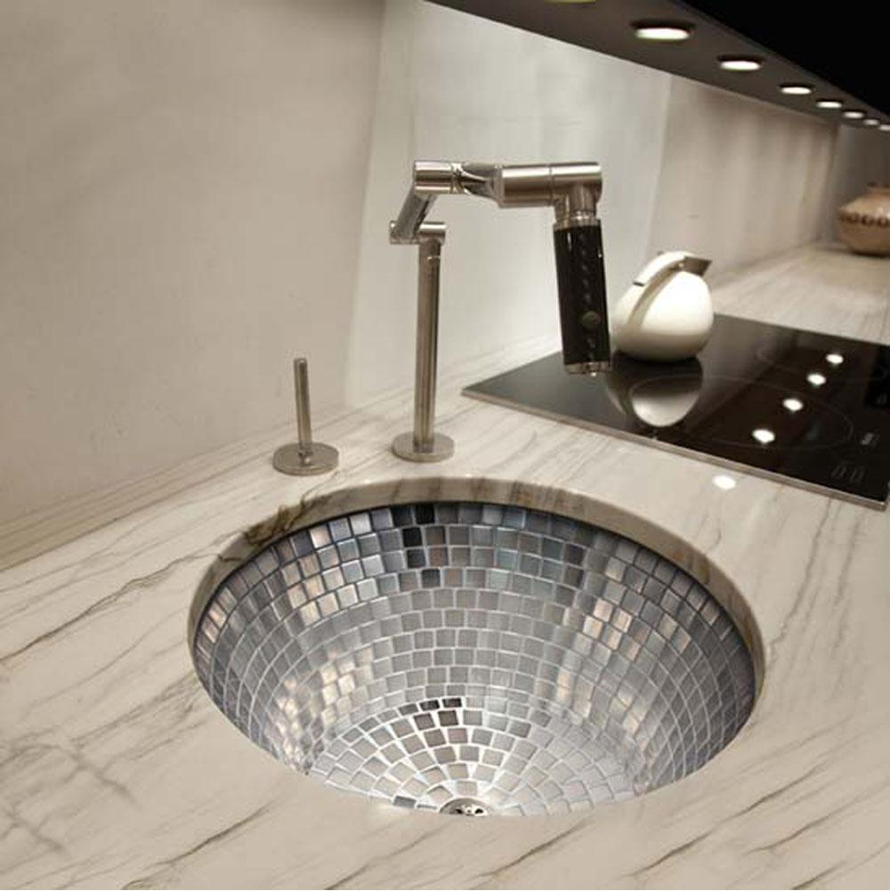 Linkasink Undermount Round Kitchen Sink w/ Stainless Steel Mosaic Tile Interior