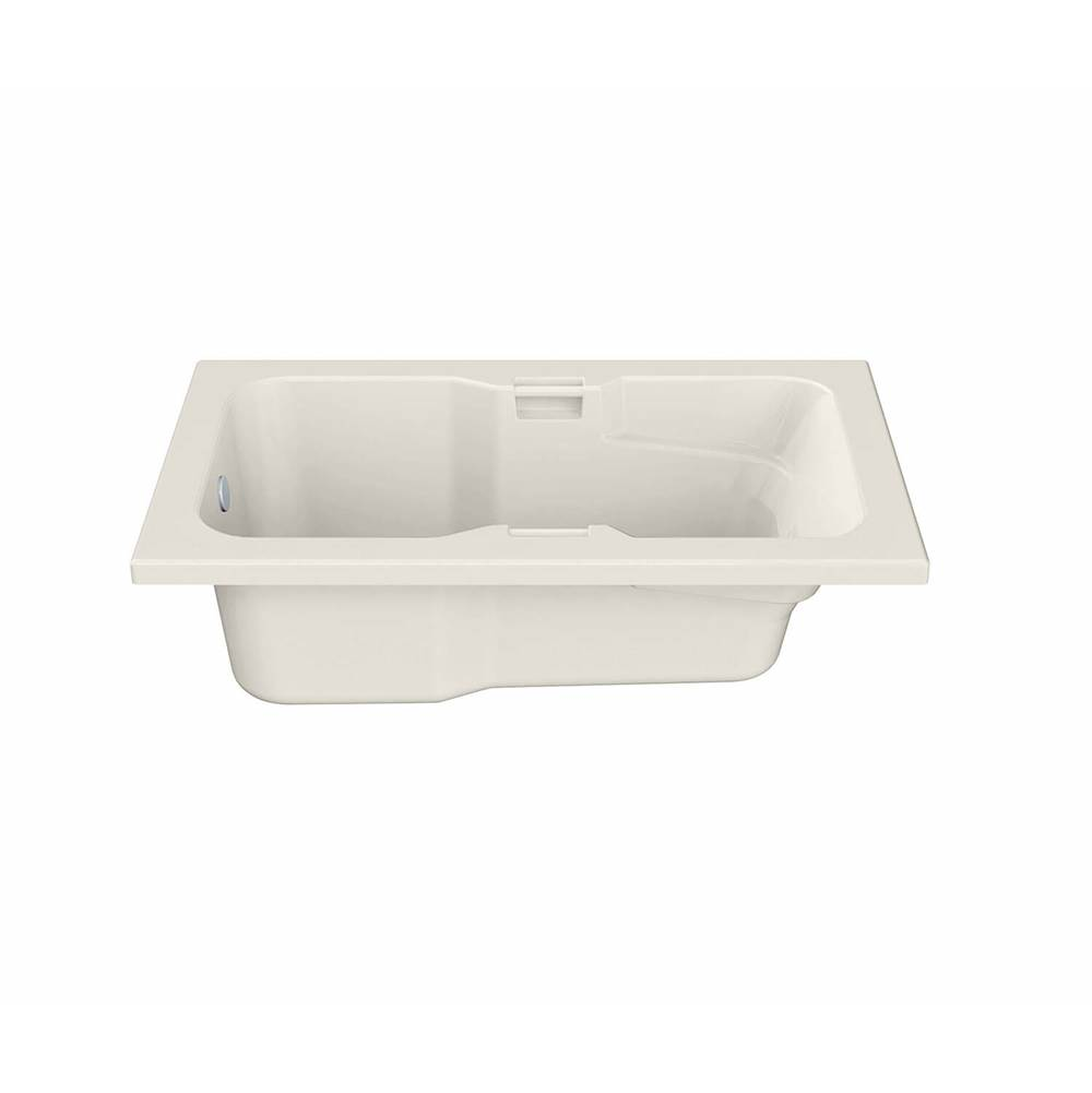 Maax Lopez 66.25 in. x 35.75 in. Alcove Bathtub with Whirlpool System End Drain in Biscuit
