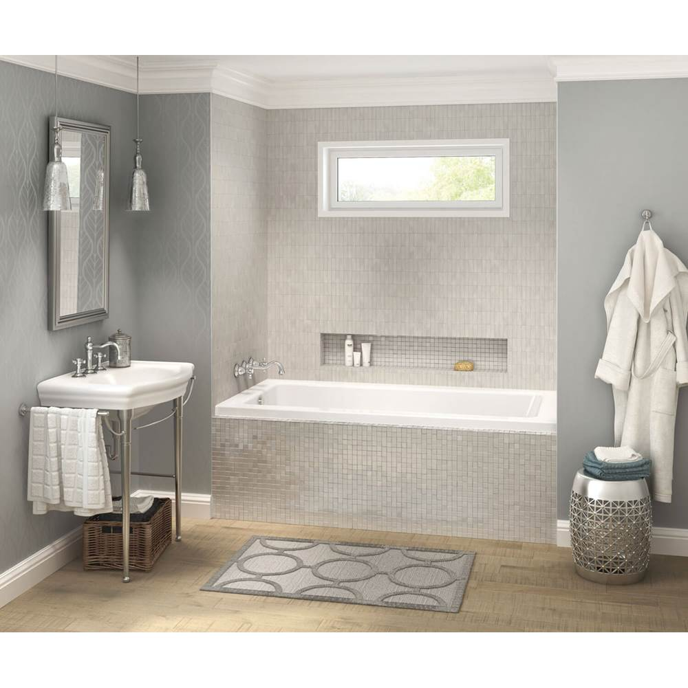 Maax Pose IF 71.5 in. x 35.75 in. Alcove Bathtub with Right Drain in White