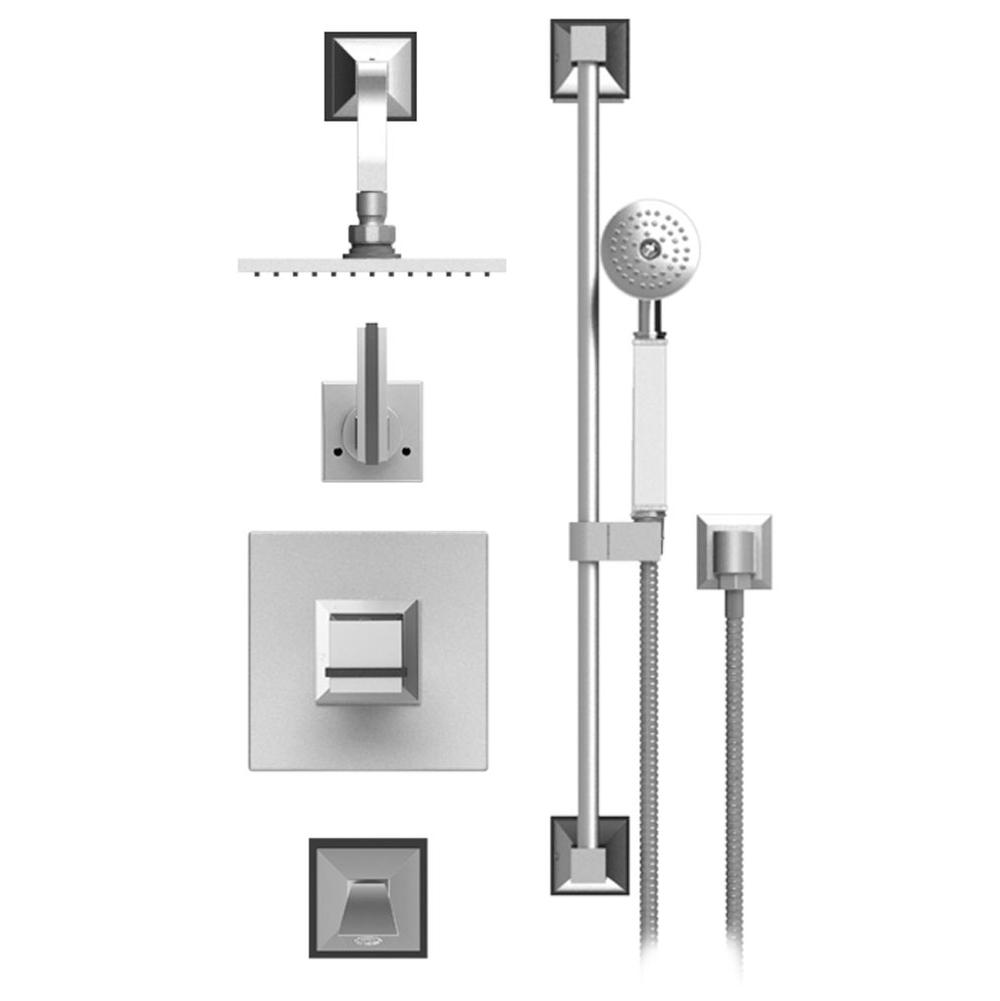 Rubinet Temperature Control Tub & Shower With Three Way Diverter & Shut-Off, Hand Held Shower, Bar, Integral Supply Wall Mount Tub Filler Spout & Fixed Shower