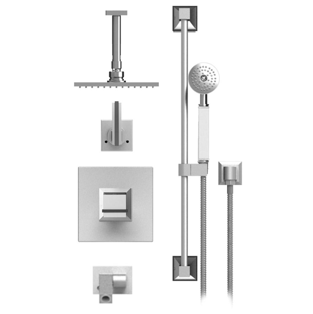 Rubinet Temperature Contol Shower With Two Way Diverter & Shut-Off, With One Seperate Volume Control, Hand Held Shower, Bar, Integral Supply Wall Mount Bidet/