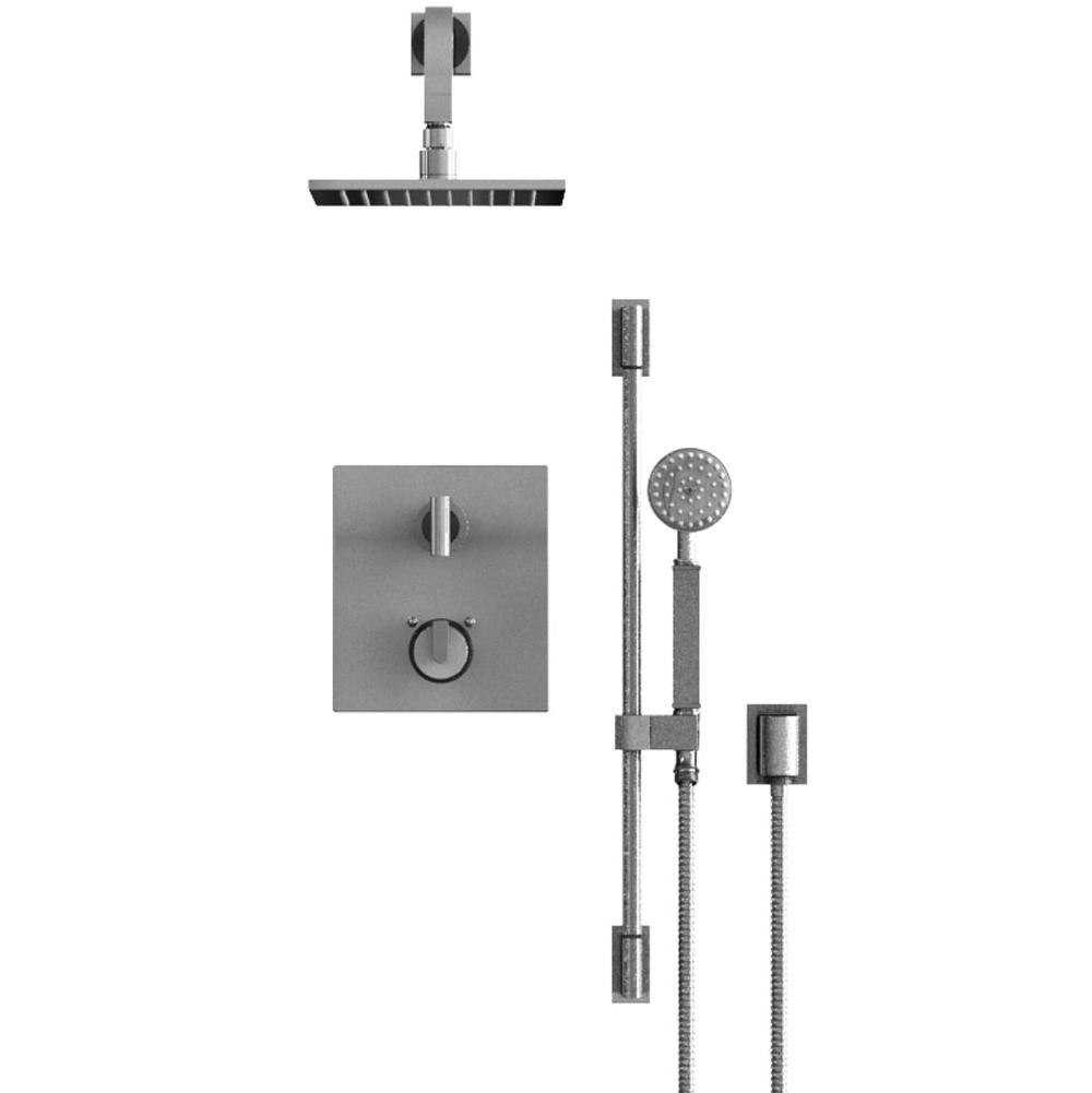 Rubinet Temperature Control Shower With Two Seperate Volume Controls, Fixed Shower Head, Bar, Integral Supply, Hand Held Shower, 8'' Wall Mount, Trim Only