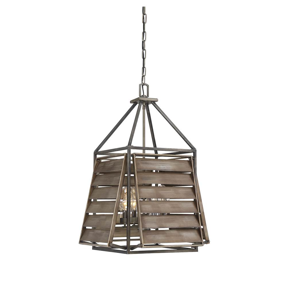 Savoy House Hartberg Aged Driftwood 4 Light Outdoor Pendant