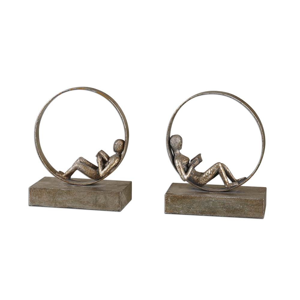 Uttermost Uttermost Lounging Reader Antique Bookends Set/2